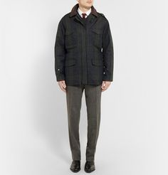 KINGSMAN  BLACK WATCH WAXED-COTTON FIELD JACKET WITH LEATHER TRIMS  £595.84/ Approx.RM3,348