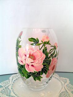 Peony Vase Glass vase Hand painted glass vase Hand painted glass Painted vase Painted glass Home decor Pink Gift Wedding gift Centerpiece
