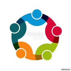 """""""Teamwork Social Network, Group of 5 people business"""" Stock image and royalty-free vector files on Fotolia.com - Pic 80916319"""