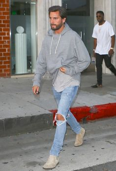 Scott Disick Stunts Hopping Out Of His BMW i8 Wearing A John Elliott Hoodie, Ksubi Jeans And Common Projects Boots | UpscaleHype