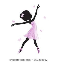 Imágenes similares, fotos y vectores de stock sobre Silhouette of cute little ballerina in pink dress isolated on white background. Print for t-shirt. Romantic hand drawing illustration for children. Ballerina Art, Little Ballerina, Balerina Drawing, Arabian Mehndi Design, Princess Silhouette, Ballet Pictures, Baby Shower Fun, Print Pictures, Little Princess