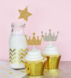 Gold and Silver Glitter Tiara Stickers Set of by PartyPresentation