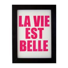 "Druck ""Das Leben ist schön / La vie est belle"" // Print ""life is beautiful"" by fifiduvie via DaWanda.com"