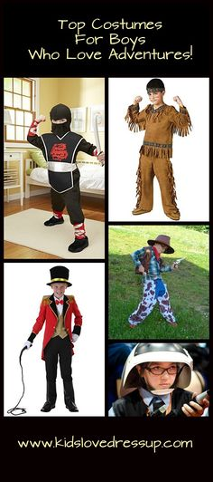 Costumes for boys who love adventures! Spark his imagination and get him busy playing screen-free! Boys Costumes, Kids costumes, Halloween Costumes for Boys, boys dress up, dress up clothes, kids dress up, cowboy costume, ninja costume, lion tamer costume, adventure costumes, boys costume ideas, costume ideas kids