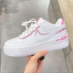 Shop Women's Nike Pink White size Various Sneakers at a discounted price at Poshmark. Description: Nike rare air force 1 shadow sneakers New with box. Nike Air Force Ones, Nike Shoes Air Force, Nike Air Force 1 Outfit, New Nike Air Force, Nike Air Max, Cute Sneakers, Sneakers Nike, Nike Trainers, Girls Sneakers