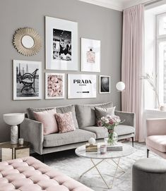 Gallery Wall Inspiration - Shop your Gallery Wall - Posterstore. Inspiration Wall, Living Room Inspiration, Living Room Interior, Living Room Decor, Gold Bedroom Decor, Pink Paris Bedroom, Room Pictures, New Room, Home Decor