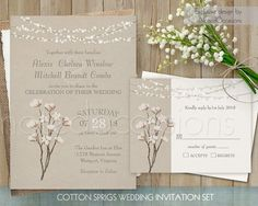 Cotton Wedding Invitation Rustic Cotton Blossom Printable Wedding Set Cotton Plant Country Wedding RSVP Invitation Digital Template Invites by NotedOccasions