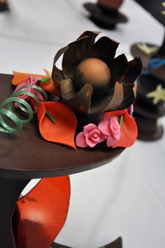 Detail of a flower made of chocolate on a showpiece in an ICE Pastry & Baking Arts class