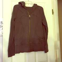 Lululemon Brown Scuba Hoodie! Older model. Great condition! Size 12(equivalent to about a size large. Has minor pilling and fading lululemon athletica Jackets & Coats