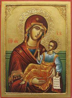 The Holy Virgin Odigitria -Malin Dimov Byzantine Icons, Ornaments Design, Religious Icons, Orthodox Icons, Blessed Mother, Christian Art, Catholic, Mona Lisa, Saints