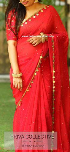 PV 3812 : Red kaasuluPrice : bright and beautiful in this now trending… - blouse Trendy Sarees, Stylish Sarees, Fancy Sarees, Saree Dress, Silk Dress, Red Saree, Silk Chiffon, Saree Tassels Designs, Sari Design