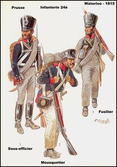 Prussian Infantry Waterloo 1815 Infanterie 24e  1-Sous-officier 2-Mousketeer 3-Fusilier