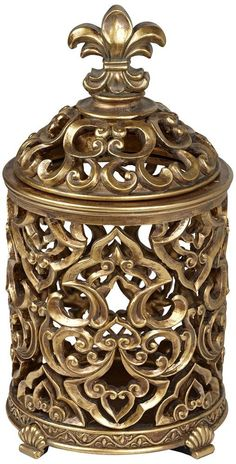 Amazon.com - Fleur-de-Lis Tall Antique Gold Box - Home Decor Products
