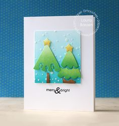 Merry & Bright card by Laura Bassen for Paper Smooches - Evergreen dies, Holiday Cheer
