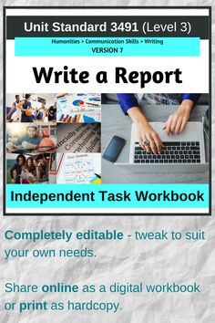 A complete workbook for the Level 3 NZQA Unit Standard 3491 Write a Report (version 7). Comes with unpacked achievement criteria, checkpoints for time-managment, checklists, template tables to plan report content, writing guides, hyperlinks for external sites and to navigate through the booklet. Share as an online teaching resource or print to use as a hard copy booklet. Teaching Science, Teaching Tips, Learning Resources, Teacher Resources, Teaching English, Learn English, Homeschool High School, Level 3, Communication Skills