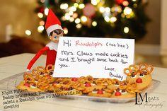 Elf on the Shelf : Elf brings reindeer cookies from Mrs. Claus.