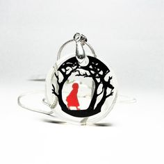 Clear Resin, White Gift Boxes, Red Riding Hood, Little Red, Paper Cutting, Fairytale, Christmas Bulbs, My Etsy Shop, Pendants