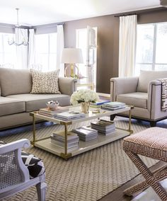 Houston Living Room featuring Neutral Palette, Graphic Patterns, Brass, Lacquer