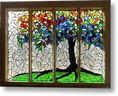 Mosaic Stained Glass - Roots Metal Print by Catherine Van Der Woerd