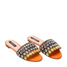 6cce9c482 Shop Rochas Orange FABRIC Embellished satin sandals for Women at Level Shoes  in Dubai mall or Buy Online and Pay Cash on delivery in UAE