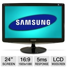 "The Samsung B2430H 24"" LCD Monitor carries a resolution of 1920 x 1080 for full high definition viewing. Its dynamic contrast ratio of 70,000:1 keeps every color distinct. Inputs are included for VGA, DVI and HDMI formats so you can connect to any PC and many other video sources. This monitor will even adjust the aspect ratio to match whatever you're viewing, giving you the full image with no distortion. Keep an eye on everything you do with the Samsung 24"" LCD Monitor."