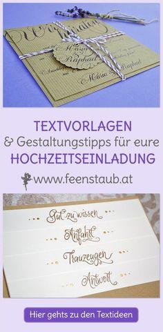 Hochzeitseinladung Texte auf Deutsch findest du in unserem Blogbeitrag. Viele Textbausteine, komplette Textvorlagen und Srüche zur Liebe. Klick dich rein.
