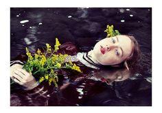 Ophelia Portrait, Romantic Photograph, Female Figure, River, Haunting Portrait, Surreal Portrait, Bedroom Decor, Large Wall Art