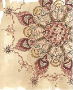 Zentangle Lace III TeaStain art by collectincat on Etsy, $12.00