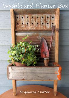 Washboard  Lag Screw Bin Planter Box www.organizedclutterqueen.blogspot.com