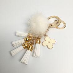 Cute Genuine Mink Fur Pom Pom Keychain with suede tassels and flower charm in White - $23.40 USD