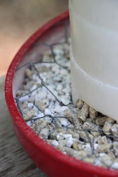 Outsmarting the Chickens at the Feeder, easy DIY to keep them from spilling food from their feeder.