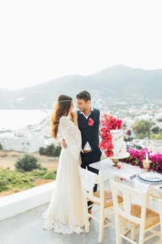 Bougainvillea-inspired Grecian wedding editorial