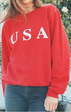 96b5db7d796b87 USA Sweatshirt - Red Sweatshirt Outfit