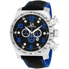 Joshua Sons Mens JS714BU Chronograph Stainless Steel Blue Sport Strap Watch
