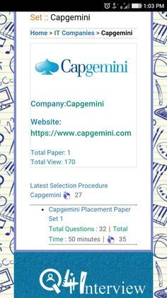 Capgemini Mock Test Based On Latest Selection Procedure Online Testinterview Questions