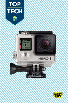 GoPro HERO4 Silver Action Camera: Capture footage of your adventures in stunning 4K video with the GoPro 4. GoPro's wearable, mountable design with touch-screen controls makes it easy to capture the action from your unique first-person perspective. Plus built-in Wi-Fi and Bluetooth allow you to operate the camera controls and share your videos and still shots.