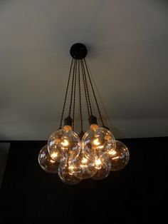 7 Cluster Custom Any Colors - Chandelier multi Pendant Lighting modern Rainbow Cloth Cords Industrial pendant light ceiling fixture lamp by HangoutLighting on Etsy https://www.etsy.com/listing/188411433/7-cluster-custom-any-colors-chandelier