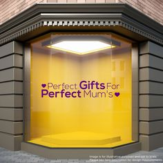 Perfect Gifts For Perfect Mums Shop Window Sticker Mothers Day Vinyl Decal