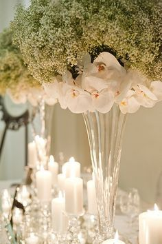 Baby's breath with moth orchid tall centerpiece