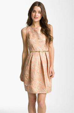 oh oh oh! I love this! Sarah what do you think... kinda pink and gold would good right? Eliza J Belted Cotton Jacquard Tulip Dress available at Nordstrom