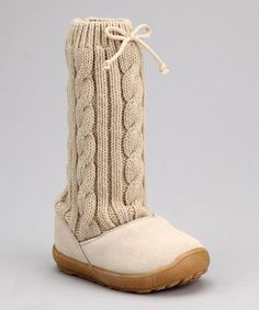 Take a look at this Tan Suede Sweater Knit Slouch Boot by Baby Deer on #zulily today!