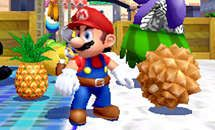 Super Mario Sunshine  - Mario beside that really irritating fruit that you have to kick because you can't pick it up