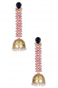 Gold Plated Vine Of Pink Stones And Blue Onyx Jhumki Earrings #GOLDPLATED #onyx…