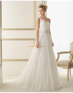 Wunderschöne Einschulter A-linie Brautkleider aus Softnetz mit Kristall 127 ELSA | luna novias 2014