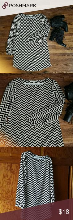 Herringbone pattern dress 100% Polyester chevron pattern dress scoopneck 30 inc long cream and black Everly Dresses Long Sleeve