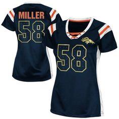 Von Miller Denver Broncos Womens Draft Him Shimmer V-Neck T-Shirt - Navy Blue