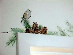 Pine bird doorframe