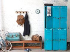 The functional utility and bright visual appeal of this metal 3x2 compartmentalised blue lockers cabinet are impressive. The surface finish is a wonderful distressed blue and reflects its previous life as changing room lockers in an airbase. #vintage #furniture #sale #vintagefurniture Furniture Sale, Shabby Chic Furniture, Hallway Furniture, Vintage Industrial Furniture, Cheap Furniture Online, Hallway Storage Cabinet, Storage Cabinets, Locker Storage, Hallway Seating