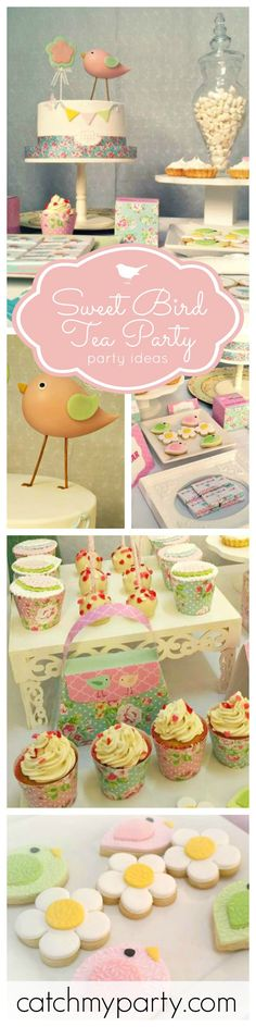 If you're looking for inspiration for a Tea Party Birthday you won't want to miss this party! The Sweet Bird Cake is just so adorable! See more party ideas at CatchMyParty.com