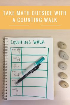 Take Math Outside with a Counting Walk from Bambini Travel Math Activities For Kids, Movement Activities, Preschool Themes, Math Classroom, Teaching Math, Preschool Activities, Outdoor Classroom, Math Games, Outdoor Activities